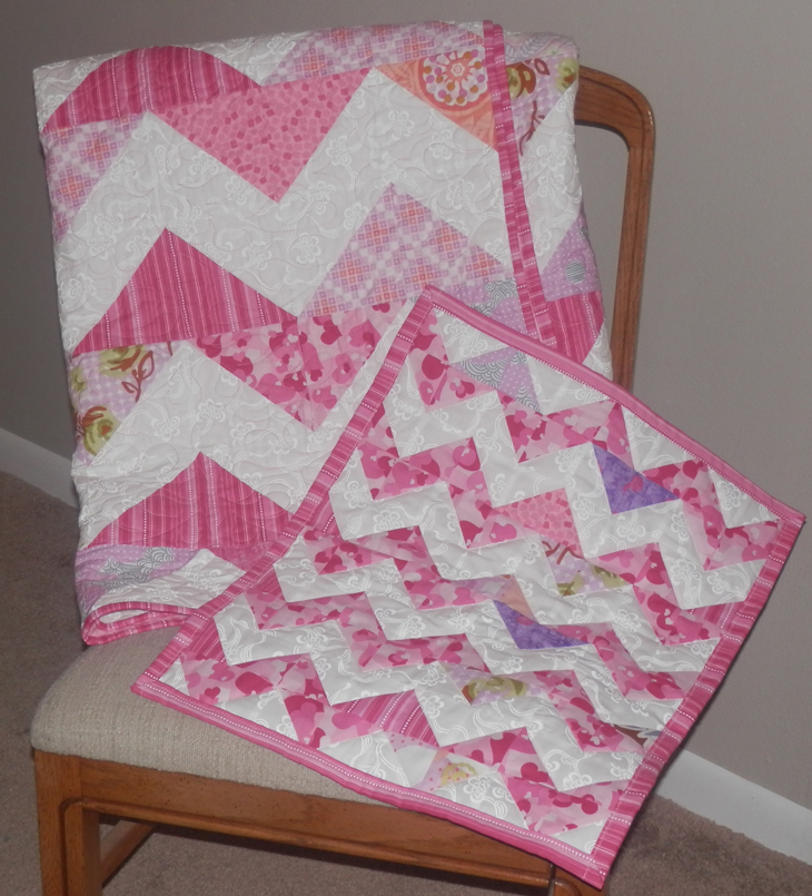 Riley's Chevron and Matching Doll Quilt